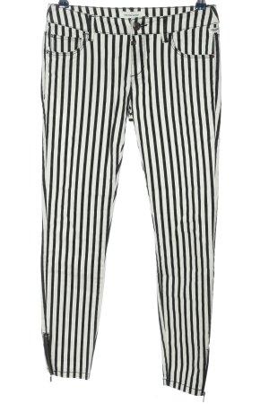 Timezone Drainpipe Trousers black-white striped pattern casual look
