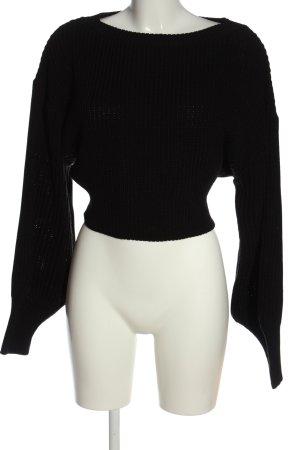 timiami Szydełkowany sweter czarny Warkoczowy wzór Elegancki