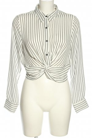 Timing Long Sleeve Blouse white-black allover print business style