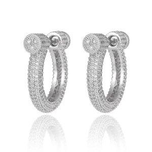 Pessina-Jewelry Pendientes de oro blanco-color plata