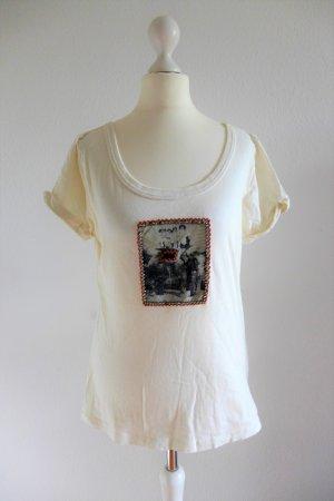 Tintoretto T Shirt beige nude Indien Ethno Motiv Glitzer Gr. 36 top