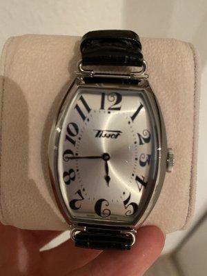 Tissot Reloj con pulsera de cuero negro-color plata
