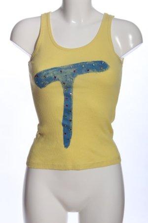 Tita Camisole blassgelb-blau Motivdruck Casual-Look