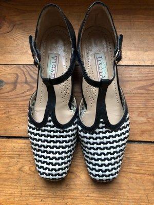 Tivola T-Strap Leder bicolor geflochten Pumps Schuhe Damenschuhe sommer