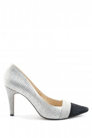 Tizian Zapatos de punta gris claro-negro estampado a rayas elegante