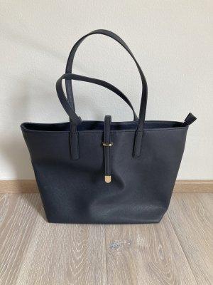 TK Maxx Tasche Handtasche Shopper blau dunkelblau gold Kunstleder