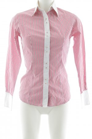TM Lewin Hemd-Bluse weiß-dunkelrot Streifenmuster Business-Look
