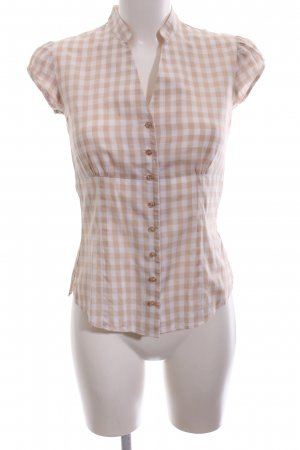 TM Lewin Kurzarm-Bluse creme-weiß Karomuster Business-Look