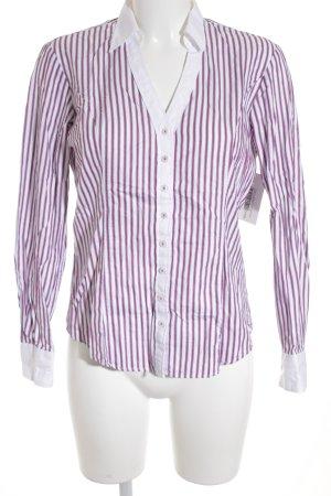 TM Lewin Langarm-Bluse weiß-violett Streifenmuster Business-Look