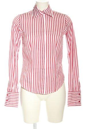 TM Lewin Langarmhemd weiß-rot Streifenmuster Business-Look