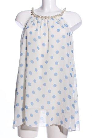 Blusentop weiß-blau Punktemuster Elegant