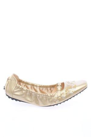 Tod's Ballerines pliables doré élégant