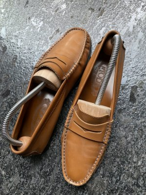 Tod's Slippers light brown-bronze-colored leather
