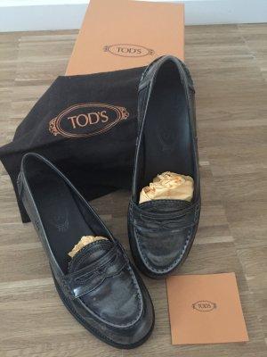 Tod's IVY Mokassin Loafer, Leder graubraun glänzend schattiert, Gr. 37 Leder