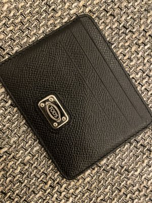 Tods Card Case black-silver-colored leather
