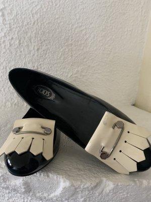 Tod's Ballerina di pelle verniciata nero-crema