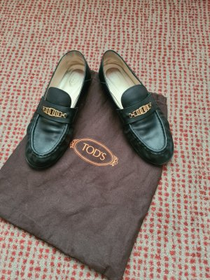 Tod's Moccasins black-gold-colored leather