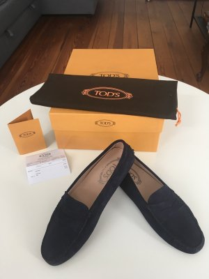 Tod's Mocassins donkerblauw Suede
