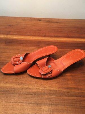 Tod's Sandały japonki pomarańczowy Skóra
