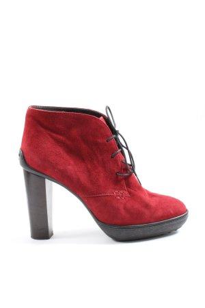 Tod's Schnür-Stiefeletten rot-schwarz Casual-Look