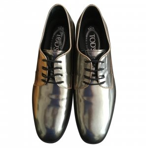 Tod's Derby silver-colored-gold-colored leather