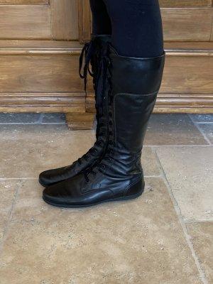Tod's Bottes à lacets noir cuir