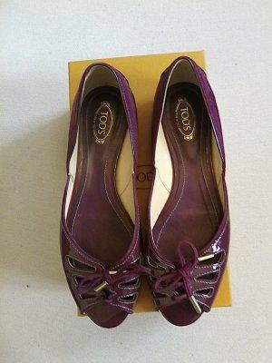 Tod's Comfort Sandals purple-magenta suede