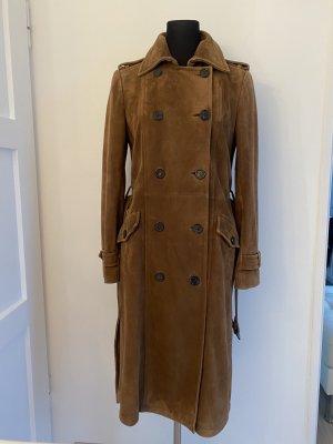 Tod's Abrigo de cuero coñac-marrón Cuero