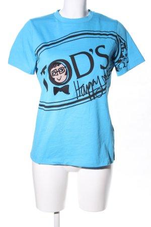 Tod's T-Shirt blau-schwarz Motivdruck Casual-Look