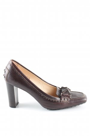 Tod's Loafers brown animal pattern business style