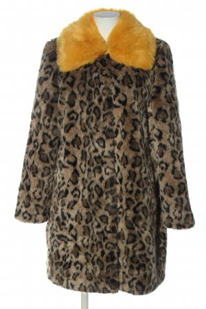 Today's Queen Fake Fur Coat allover print casual look