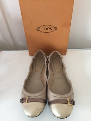 Tods Mary Jane Ballerinas grey brown-oatmeal leather
