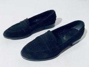 Tods Schuhe Loafers aus schwarzem Rauhleder - Gr.38,5