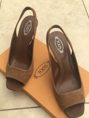 Tods Sling Pumps / Peeptoes Wildleder Gr.38