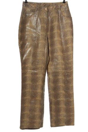 Together Pantalón de cuero marrón-blanco puro estilo extravagante