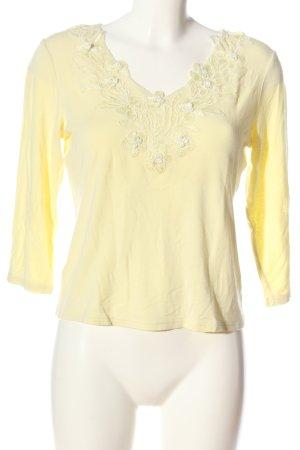 Together Maglia con scollo a V giallo pallido-bianco motivo floreale