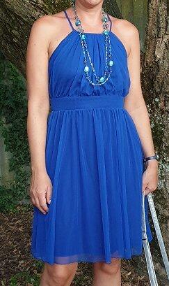 Toles, leichtes royalblaues Trägerkleid, doppellagig, Größe 38