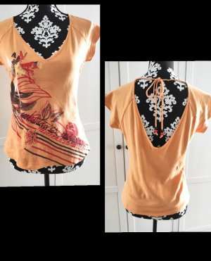 Mexx T-shirt col en V orange doré