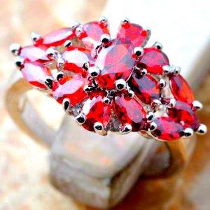 925 Anello d'argento argento-rosso Tessuto misto