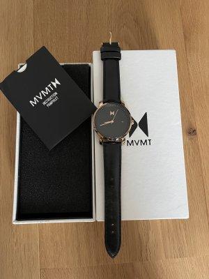 MVMT Orologio con cinturino di pelle color oro rosa-nero