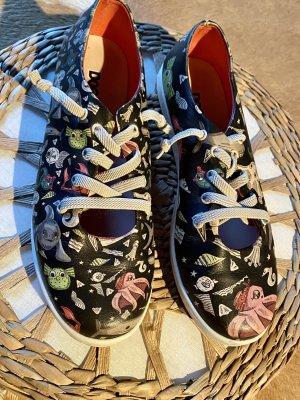 Tolle ausgefallene Dogo Schuhe Schnürschuhe schwarz bunt Gr 38