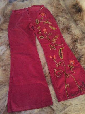 Fornarina Spodnie sztruksowe malina