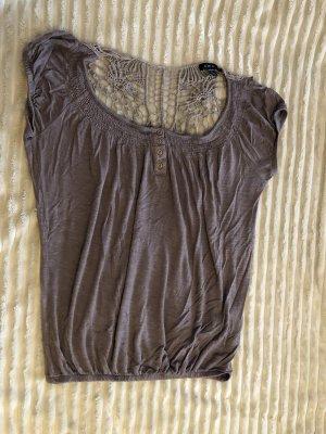Amisu Koronkowa bluzka szaro-brązowy
