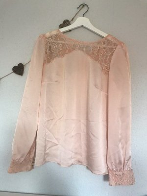 Tolle Bluse in nude apricot Farbton Gr. 38 M Stickereien