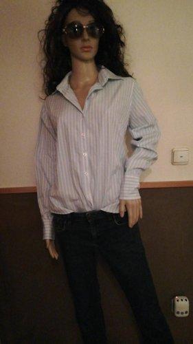 Marie Lund Blouse met opstaande kraag wit-lichtblauw