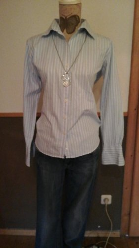 Marie Lund Stand-Up Collar Blouse white-light blue