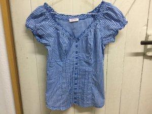 Tolle Bluse Shirt Gr.36 kariert blau romantisch von Orsay