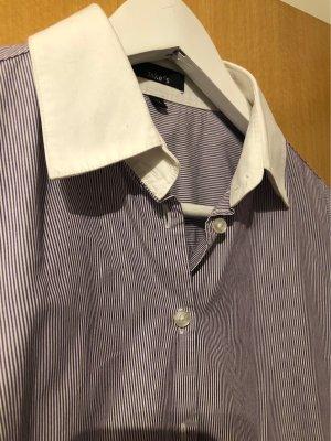 Tolle Businessbluse violett/Weiß mit schönen Manschetten