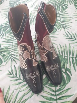Zara Western Booties black brown-red