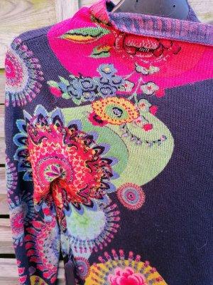 Tolle DESIGUAL Strickmantel Strickjacke Cardigan  Blumen Muster Blumen Strass L